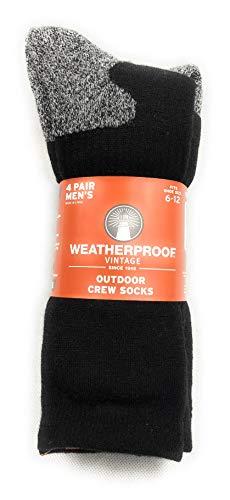 Weatherproof Vintage Outdoor Wool Blend Crew Socks, 4 Pair, Men's Shoe Size 6-12 (Black)