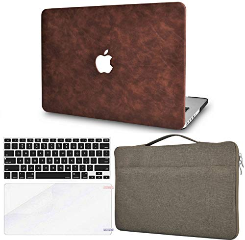 LuvCase 4in1 Laptop Case for MacBook Air 13 Inch (2020) A2337 M1/A2179 Retina Display (Touch ID) Hard Shell Cover, Sleeve Bag, Keyboard Cover&Screen Protector (Brown Cow Leather)