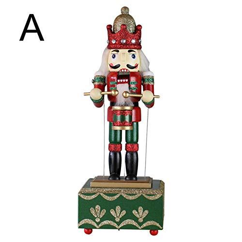 Lonsc Weihnachten Nussknacker Soldat, Animierte Musikalische Nussknacker Form mit Trommel Spieluhr Kunsthandwerk, Weihnachten Nussknacker Ornamente Spielzeug Geschenke für Home Desktop Dekor