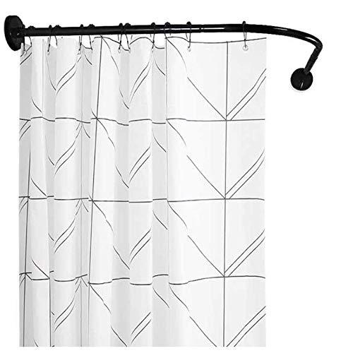 Barra cortina ducha extensible, Barra para cortina de ducha curva, Barra de cortina de ducha angular, Barra cortina ducha sin taladro negra, Tipo L, Para el baño radian20:60 to 90cmx60 to 90 cm