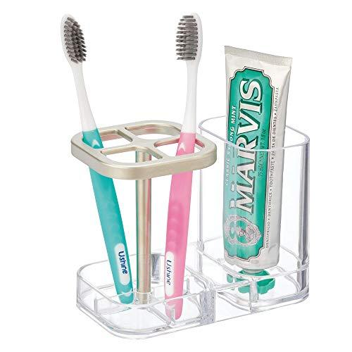 mDesign Soporte para cepillo de dientes – Ideal porta cepillo de dientes con vaso para pasta dental – Modernos accesorios para el baño en plástico para 4 cepillos dentales – transparente/plateado mate