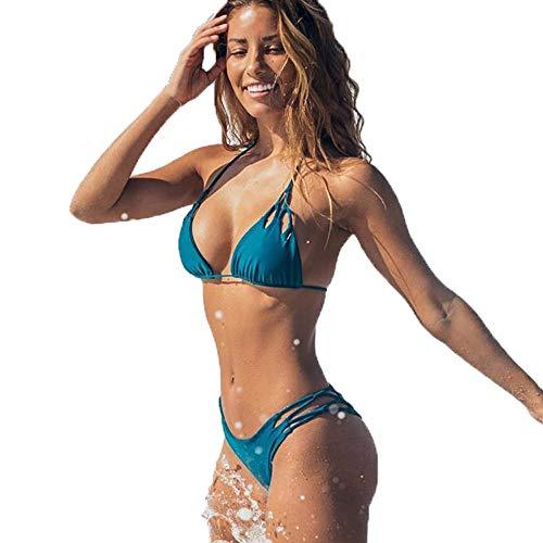 Calvinbi Bikini da Donna Reggiseno Imbottito Push-up Solido Sexy Costume da Bagno a Due PezziCostume da Bagno TankinisCostumi da Bagno da Mare