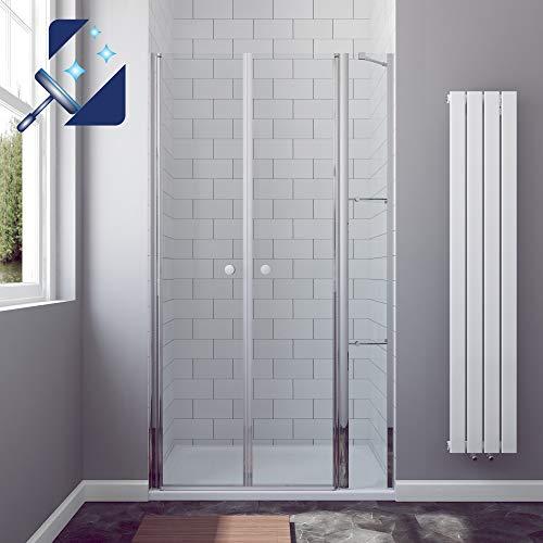 AQUABATOS® Duschtür in Nische 110 x 195 cm mit Festteil und 2 Eckregalen aus 6mm ESG Nanobeschichtung Glas, Nischentür Dusche mit Wandablagen, Duschwand Glas Drehtür Pendeltür mit Duschablagen