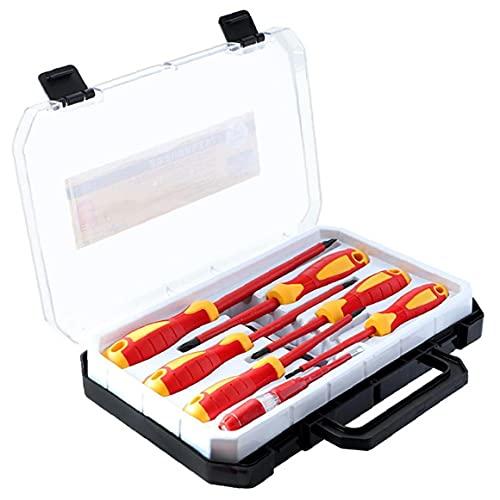 Kit de herramientas del destornillador de la mano aislada 1000V Phillips ranurado fácil utilizar destornilladores no es fácil llevar con lleva la caja del probador de seguridad para electricista Rojo