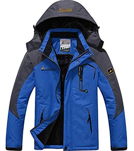 XinYangNi Mens Winter Fleece Hooded Mountain Fleece Ski Windproof Rain Jacket Snow Coat Mountain Jacket Outwear Sky Blue US L/Asia 4XL