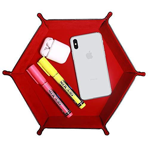 Hexagon - Bandeja de piel sintética de doble cara, organizador de escritorio para cartera, relojes, teléfonos móviles, llaves, artículos de papelería, bandeja plegable roja para mazmorras