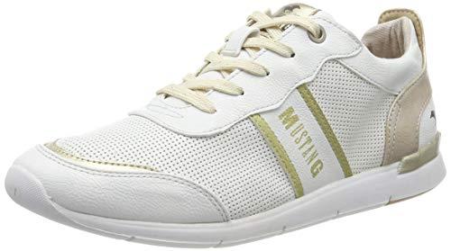 Mustang Damen 1301-301-111 Sneaker, Weiß (Weiß/Gold 111), 40 EU