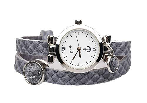 KT-Schmuckdesign Lederarmband Uhr in grau Reptilienmuster mit Schiebeperlen in dunkelgrau Glitzer, Edelstahluhr mit versilbertem Gehäuse, Länge 42 cm, Breite 8 mm
