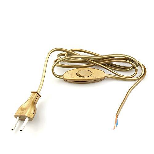 Arditi 038054 Cablaggio Oro con Cavo Bipolare Piatto H03Vvh2-F 2 X 0.75 Mm², Interruttore Unipolare e Spina Europea