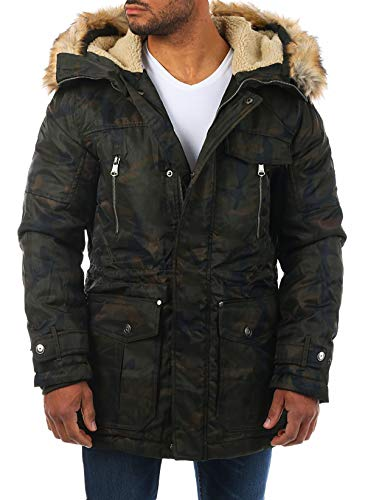 Young & Rich Herren Camouflage Parka Winter Jacke Kapuze mit Kunstfell Tarn Militär Optik Look Warm gefüttert JK-457, Grösse:L, Farbe:Camouflage