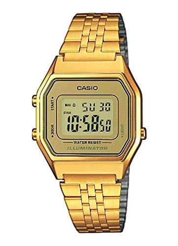 Casio Collection – Damen-Armbanduhr mit Digital-Display und Edelstahlarmband – LA680WEGA-9ER