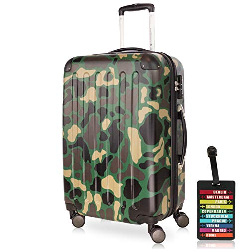 Hauptstadtkoffer - Spree - Carrello portavaligie Hard Case Trolley Trolley Travel Case espandibile, TSA, 4 ruote, 65 cm, 74 litri, camuffamento + Etichetta per i bagagli