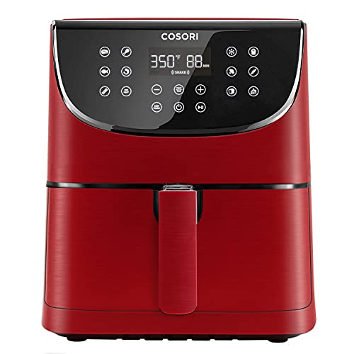 COSORI Air Fryer Max XL(100 Recipes) Electric Hot Oven Oilless Cooker LED Touch Digital Screen with 13 Cooking Functions, Preheat and Shake Reminder, Nonstick Basket, 5.8 QT-Burgundy Red