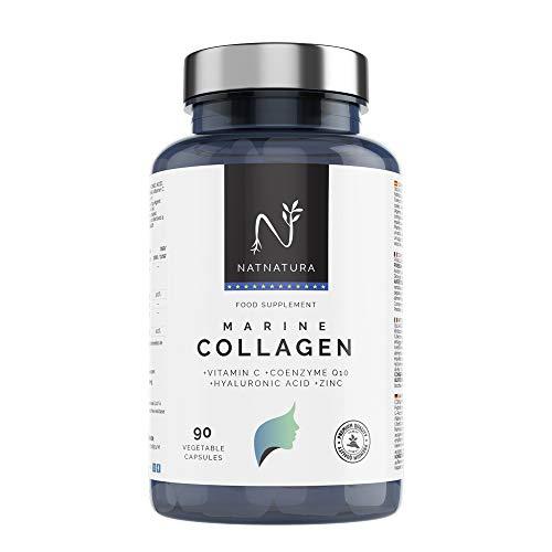 Collagene marino idrolizzato. Collagene Acido Ialuronico + Coenzima Q10 + Vitamina C + Zinco. Energia, pelle sana, articolazioni forti. 90 capsule.
