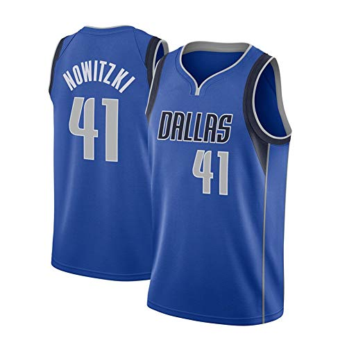 Herren Basketball Trikot - Dallas Mavericks 41# Dirk Nowitzki Atmungsaktive bestickte Basketballuniform Sommerhemd Westenshorts Basketball Swingman Jungen Geburtstagsgeschenk (S-XXL)-Blue-M(170.175c