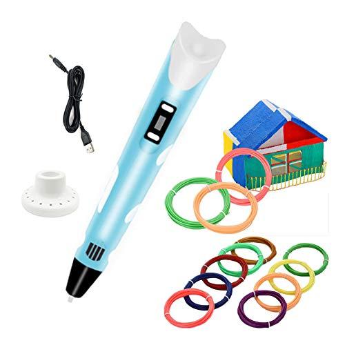 3D Stift mit 12er-Set PLA-Filament-Material, USB-Stromversorgung, 3D-Zeichenstift für Kinder (Blau)
