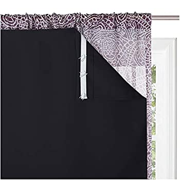 KGORGE Blackout Window Curtain Liners - Thermal Insulated Drape Liners for 84 inch Long Curtains 100% Blackout Lining Curtains for Living Room  2 Pieces W27 by L80 Black Hooks Included