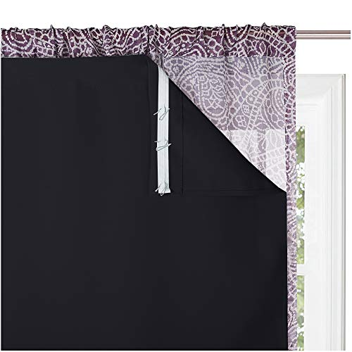 KGORGE Blackout Window Curtain Liners - Thermal Insulated Drape Liners for 84 inch Long Curtains, 100% Blackout Lining Curtains for Living Room (2 Pieces, W27 by L80, Black, Hooks Included)