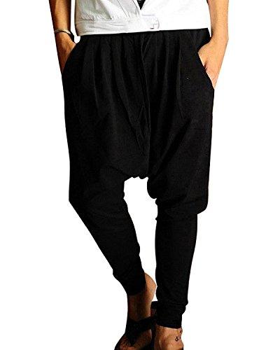 Minetom Pantaloni Stile Harem Aladdin Larga Fascia Elastica in Vita - Uomo Pantaloni Sportivi (Nero EU M)