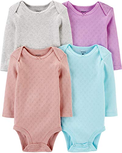 Carter's Unisex-Baby 4-Pack Long Sleeve Bodysuits (18 Months, Solid Multi)