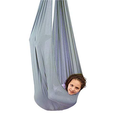 zyy Columpio Terapéutico Interior para Niños Hamaca Suave con Necesidades Especiales para Niños Yoga Integración Sensorial Camping Al Aire Libre (Color : Gray, Size : 100x280cm/39x110in)