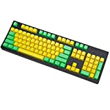 OEM Profile ANSI Layout 104 Keys Laser Carving PBT Keycaps Dolch Keyset for Standard 108 104 87 TKL 60% Cherry MX Switches Mechanical Gaming Keyboards (Yellow-Green)