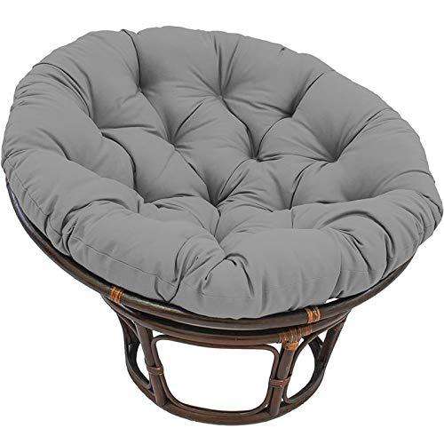 Papasan - Cojín redondo para silla Papasan, cojín para silla Papasan, impermeable al aire libre, con lazos, cojines de gran tamaño, color gris, 100 x 100 cm