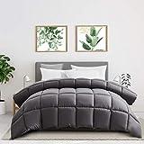 ELNIDO QUEEN All Season Down Alternative Comforter - Grey 350 GSM Comforter - Duvet Insert with Corner Tabs, Quilted Bedding Comforter - Stand-Alone Lightweight Reversible Comforter (King, Grey)
