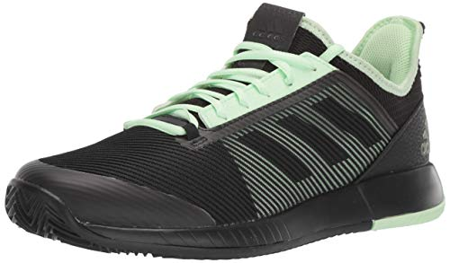 adidas Women's Adizero Defiant Bounce 2 Tennis Shoe, Black/Black/Glow Green, 11 M US
