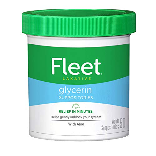 Fleet Laxative Glycerin Suppositories for Adult Constipation, Adult Laxative Jar Aloe vera, 50 Count