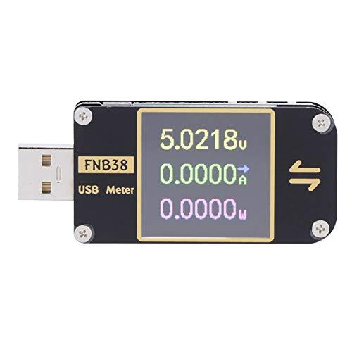 Jeanoko Probador USB Probador de medidor de Potencia Digital Tipo-C Probador de Voltaje USB Multímetro Voltímetro Amperímetro Detector TFT LCD Disparador de Carga rápida