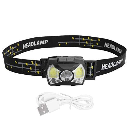 Linterna frontal XPG + COB, Sensor de movimiento Lámpara frontal recargable USB Linterna frontal a prueba de agua para acampar al aire libre, Senderismo