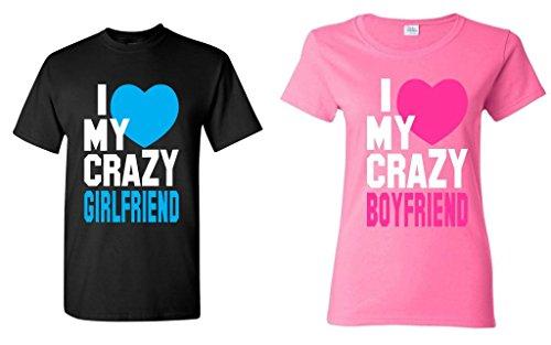 shop4ever I Love My Crazy Girlfriend - Boyfriend Couples Matching T-Shirts - Men Large Black//Women Medium Pink