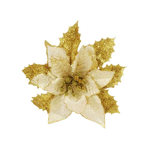 Party Paper Decorations 10Pcs/Lot Artificial Flowers Christmas Decorations Glitter Hollow Flower for Christmas Tree DIY Xmas New Year Decor Red Gold