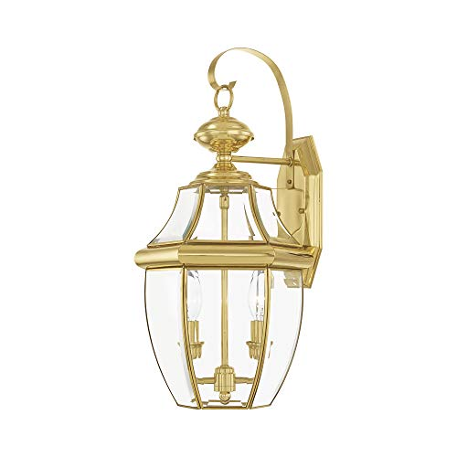 Livex Lighting 2251-02 Monterey 2 Light Outdoor Polished Brass Finish Solid Brass Wall Lantern with Clear Beveled Glass