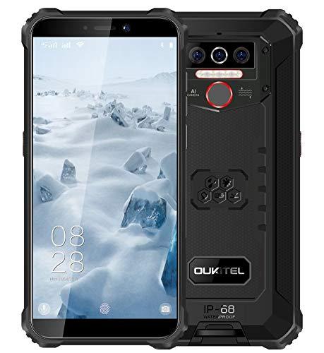 4G Teléfono Móvil Resistente 2020 OUKITEL WP5, Batería de 8000 mAh, Smartphone Impermeable IP6, 4 Luces de Flash LED, MTK6761 3GB + 32GB, 13MP + 2MP + 2MP, Android 9.0, Reconocimiento Facial Negro