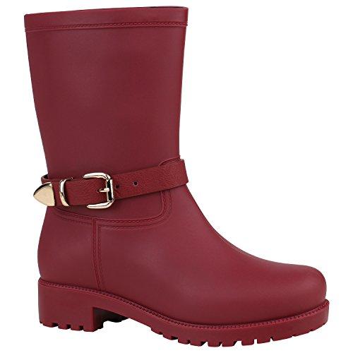 Warm Gefütterte Damen Gummistiefel Lack Boots Stiefel Kunstfell 155268 Dunkelrot Schnallen 37 Flandell