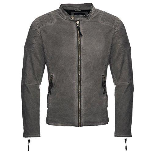 Megastyl Lederjacke Biker-Style Slim-Fit schwarz Oliv-grün, Farbe:Grau, Größe:L
