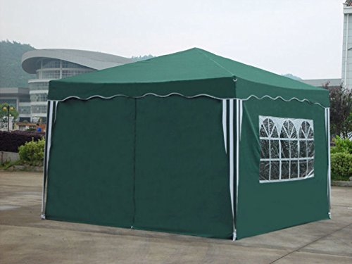 Kronenburg Faltpavillon wasserdicht Dachmaß 3 x 3 m UV Schutz 50+ Pavillon in Grün mit 4 Seitenteilen - 3