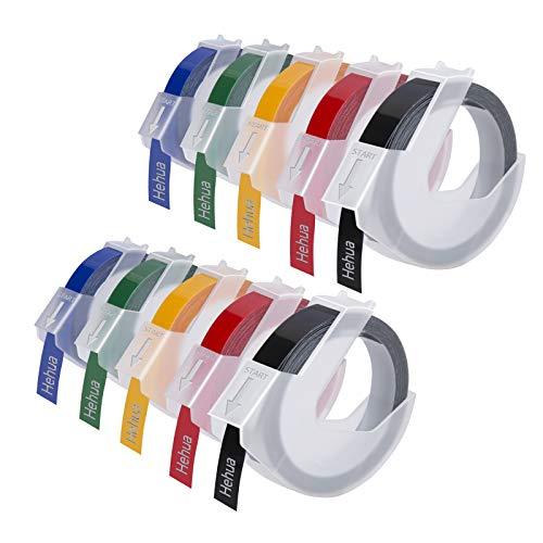 Hehua 3D Prägeband Ersatz für Dymo 3d 9mm, Etikettenband 3d Kompatible mit Dymo Omega Junior Beschriftungsgerät (Weiß auf Schwarz/Rot/Grün/Gelb/Blau, 10-Pack)