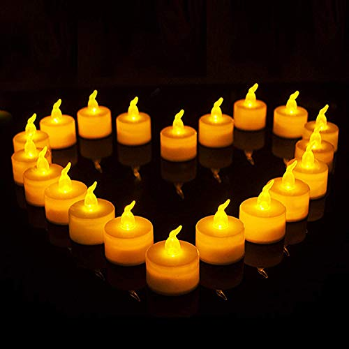 Flameless LED Tea Light Candles,24 Pack Realistic and Bright Flickering Bulb Battery Operated for Seasonal and Festival Celebration,Flameless Votive Candles in Warm Yellow (24pack)