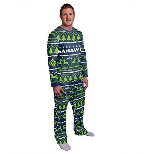 FOCO NFL Winter Xmas Pyjama Schlafanzug - Seattle Seahawks - L