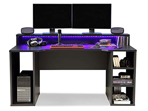 moebel-eins TEZO Gaming Tisch Schreibtisch Jugendschreibtisch Kinderschreibtisch Schülerschreibtisch Zeichentisch Pult inkl. LED-Beleuchtung bunt, Material Dekorspanplatte