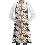 Drempad Schürzen Trotting Border Terriers Bib Apron Chef Apron - with Pockets for Male and Female,Waterproof, Resistant to Droplets, Durable, Machine Washable, Comfortable, Easy Care Apron