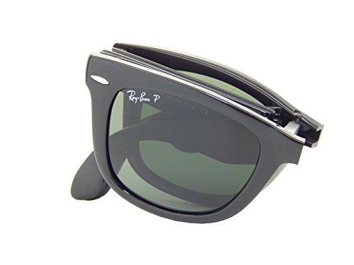 Ray-Ban Ray Ban Folding Wayfarer RB4105 601/58 Black/Crystal Green Polarized 54mm Sunglasses, 54 mm