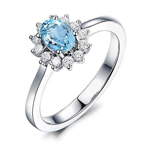 AnazoZ Anillo de Mujer Compromiso,Anillos de Plata de Ley Mujer 925 Oval Flor 6X8MM Topacio Azul Blanco Anillo Plata Azul Talla 8