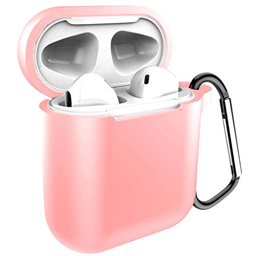 Compatible with 2019 Newest Airpods 1/2 USB Cable Charge Case,360 Protective Silicone Chargeable Headphone Accessories Kit with Keychain Compatiable with Airpods Wireless Charging Case-Pink