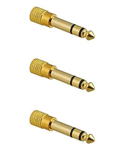 3x Adaptador Clavija de Audio Conversor minijack 3.5 mm a 6.3 Estereo Dorado 2220