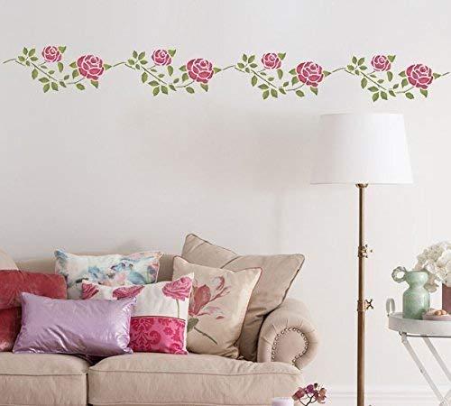 Vintage Rose Bordüre Schablonen wiederverwendbar Wanddekoration, Kunst & Handwerk Schablone Farbe Wände Stoffe & Möbel - semi-transparent Schablone, M/ 11X26CM