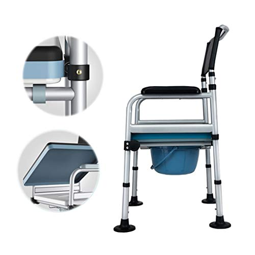 Household Deluxe Foldable Toilet Chair with Footrests - Adjustable Height Bath Chair Toilet Seat Commode Chair - The Best Gift for Parents